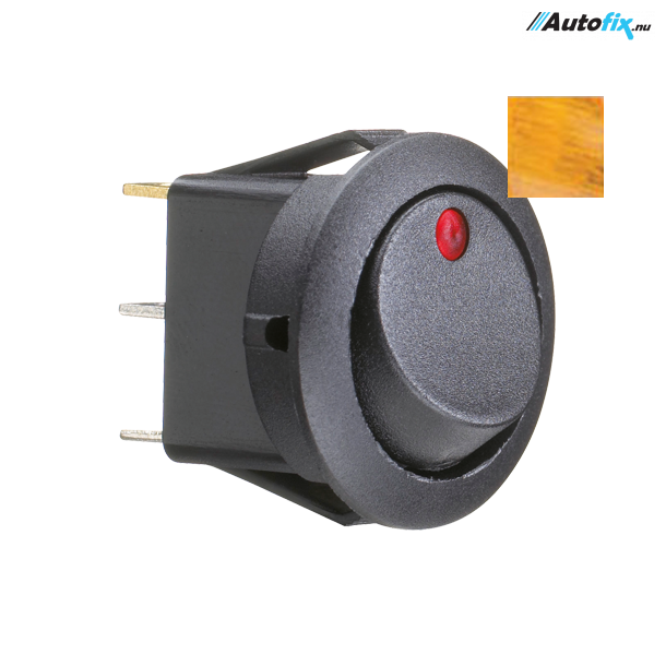 Kontakt Rund - ON/OFF Gul - 19 mm Hul 10 Amp
