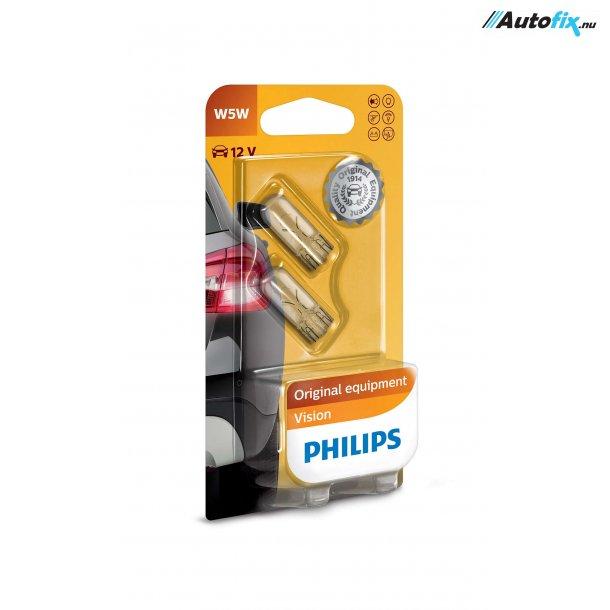 W5W Pære 12V - Philips Premium - 2 Stk