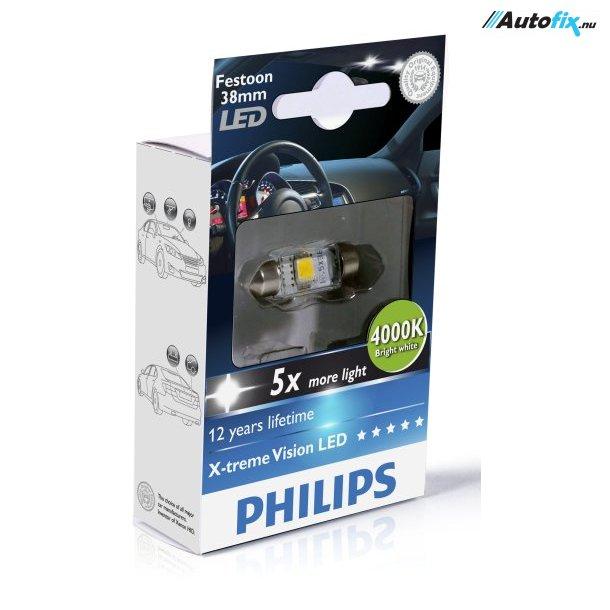 Philips - LED Pinol Pærer C5W - 4000K 12V (1 stk)
