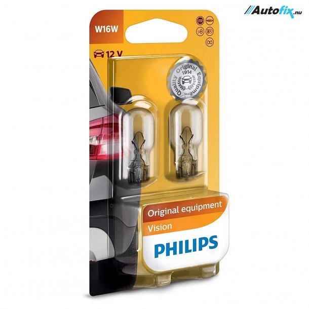 W16W Pære 12V - Philips Premium - (2 Stk) (12067B2)