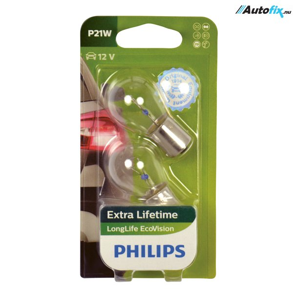 P21W Pære 12V - Philips LongLife EcoVision - (2 Stk)