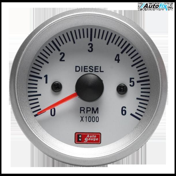 Omdrejningstæller For Diesel - Auto Gauge - Hvid 52 mm.